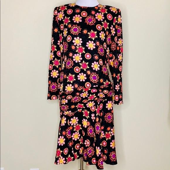 Carolina Herrera Dresses & Skirts - Carolina Herrera | Floral Shoulder Pad Silk Dress
